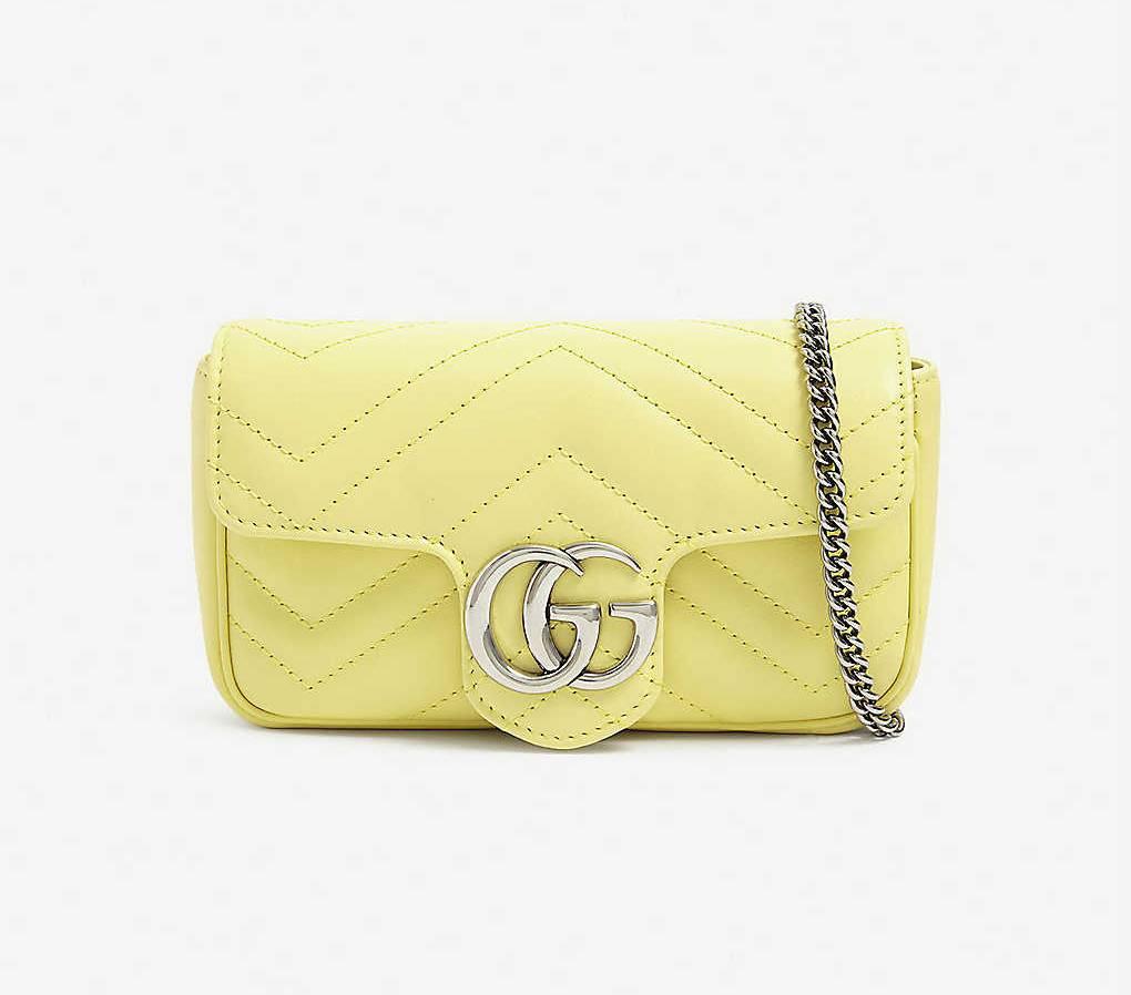 Gucci 古驰女士super mini GG Marmont黄色链条包直邮港澳7700港币(约6650元)