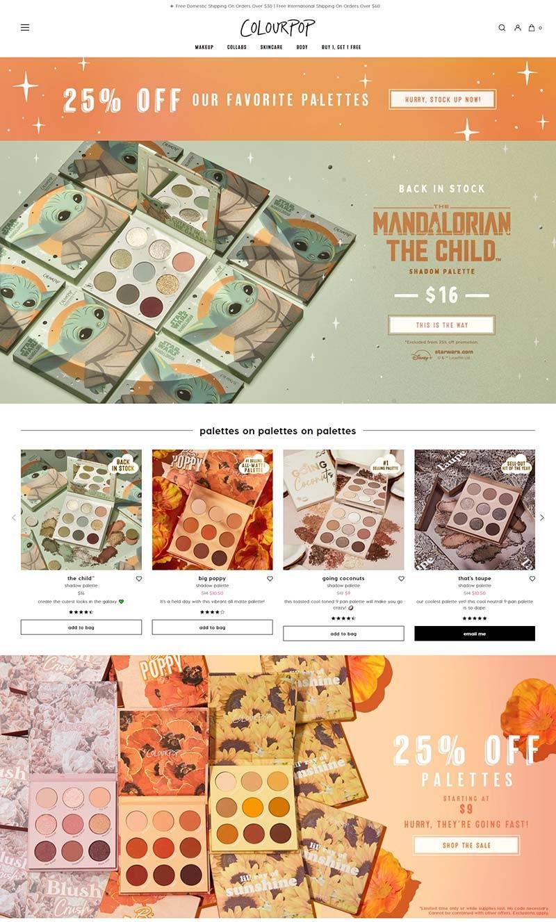 ColourPop 美国著名彩妆品牌购物网站