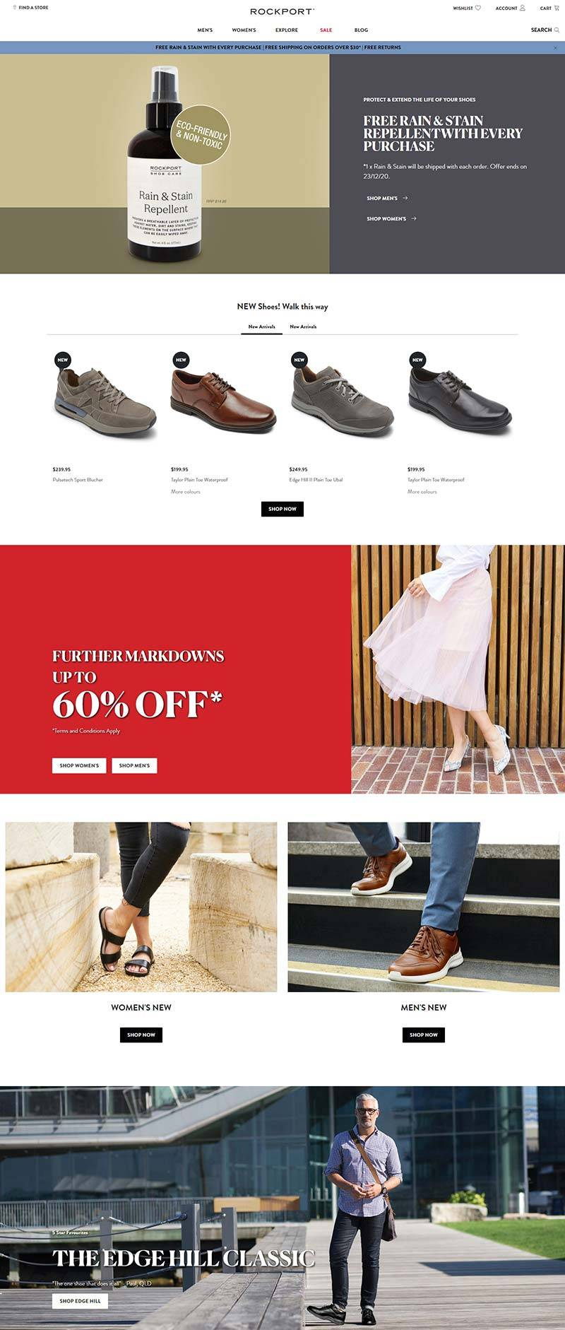 Rockport 美国高科技鞋履品牌网站