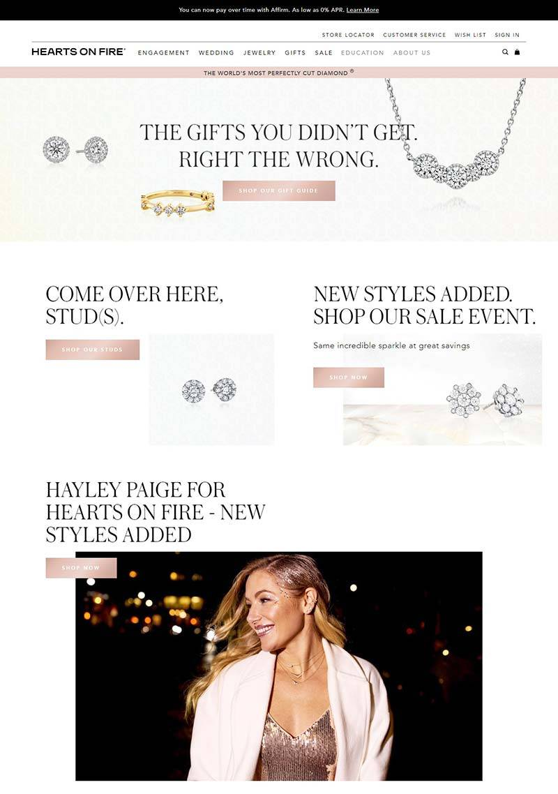 Hearts On Fire 美国钻石珠宝品牌购物网站