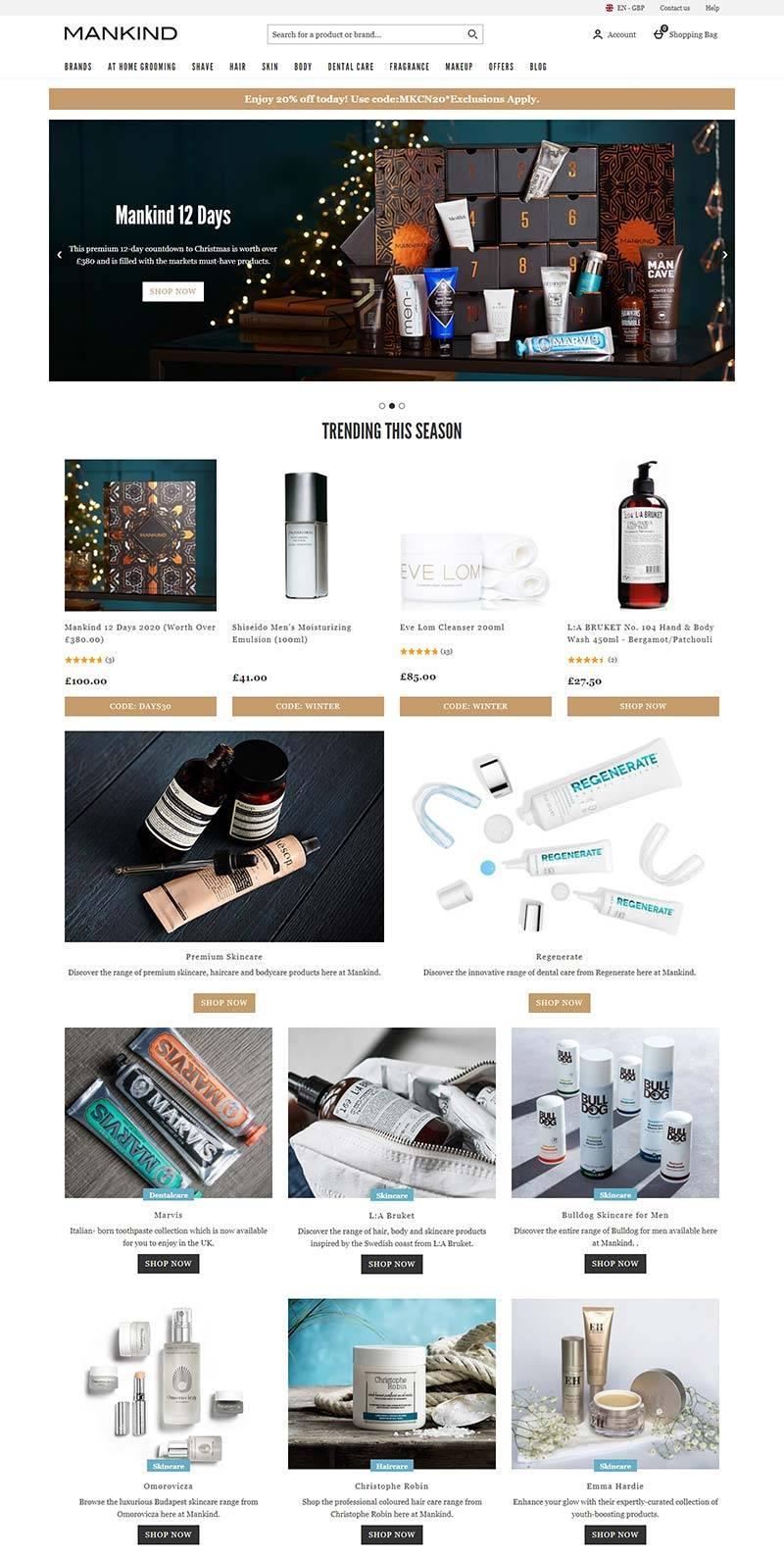 Mankind 英国男士品牌护肤品购物网站