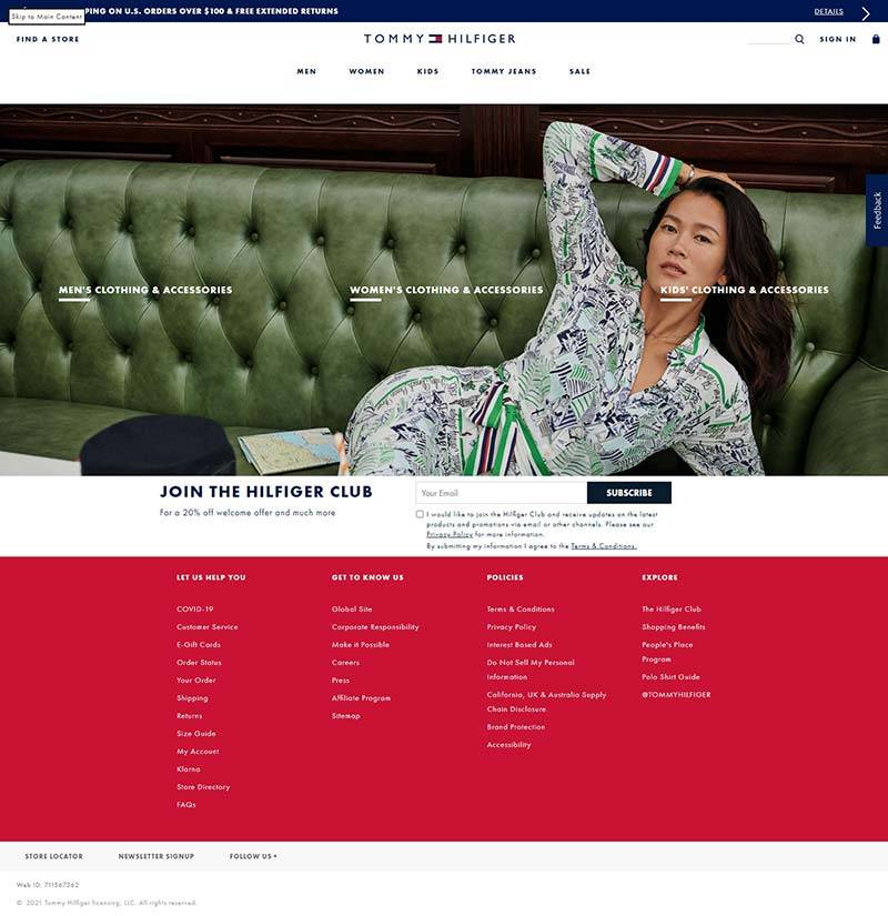 Tommy Hilfiger 美国休闲服饰品牌网站