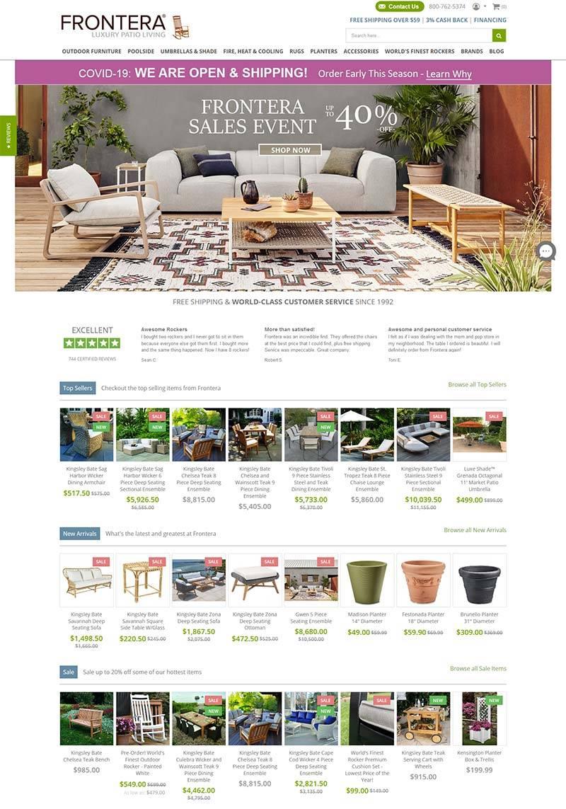 Frontera 美国高品质传统家具购物网站