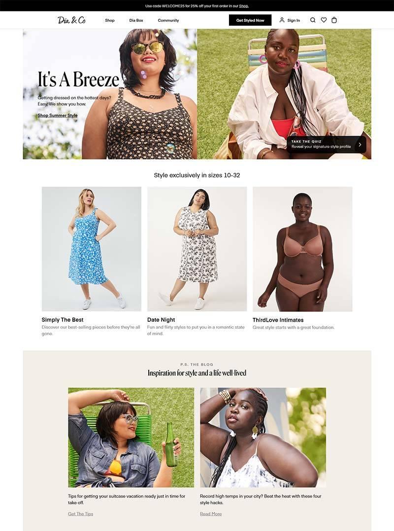 Dia & Co 美国大码女装品牌购物网站